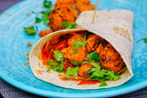 Sweet potato pakora wrap with cumin ketchup